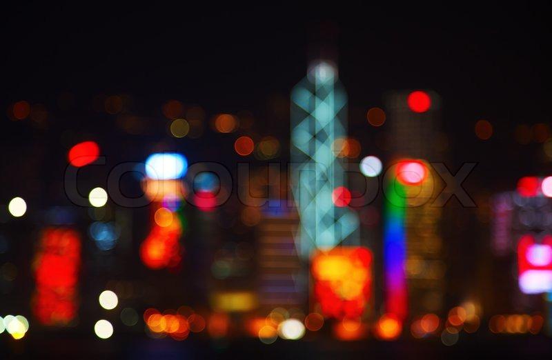 Night lights of the Hong Kong city   Stock Photo   Colourbox