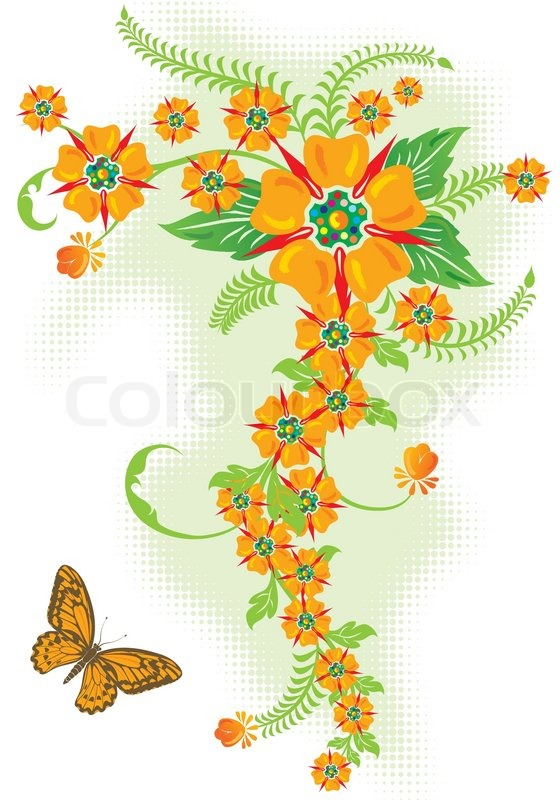 Decorative Floral Border With Butterfly Vector Illustration Vector 2336286 on Mandala Border