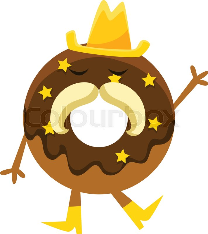 Cartoon Doughnut Factory: Humanized Doughnut With Chocolate ...