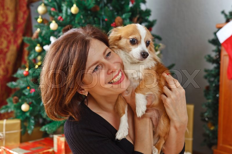 Middle age woman with dog in the room with Christmas decorations, stock photo