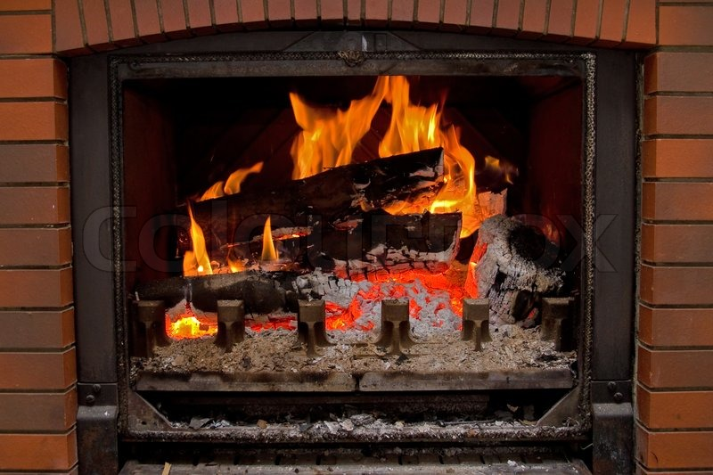 Chimney fire - home interior, stock photo