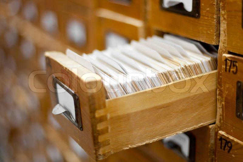 Database Concept Vintage Cabinet Library Card Or File