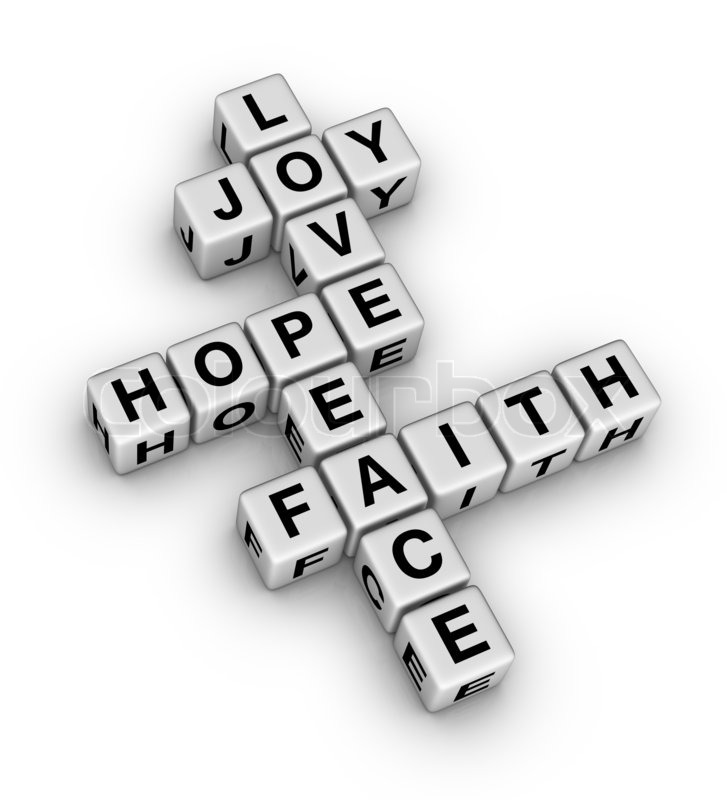 joy, love, hope, peace and faith (crossword puzzle reminder of the, Powerpoint templates