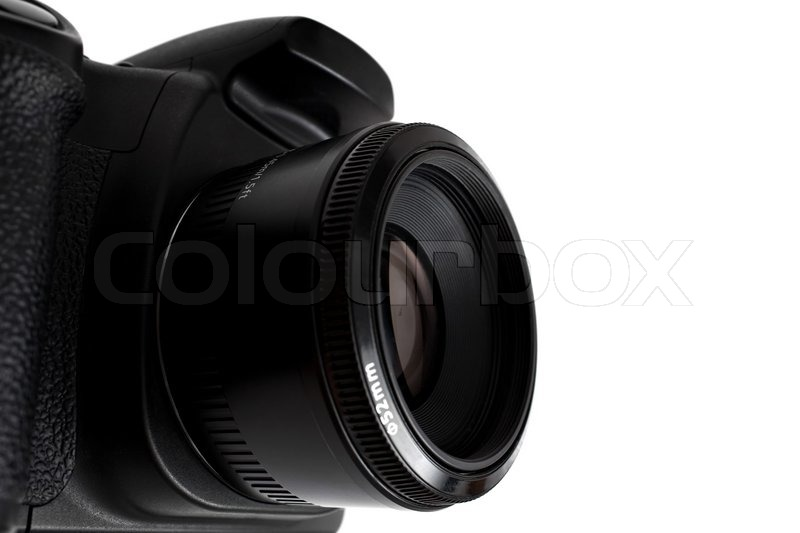 Black generic digital dslr camera and attached lens isolated over white as seen from a dramatic angleshallow depth of field stock photo colourbox