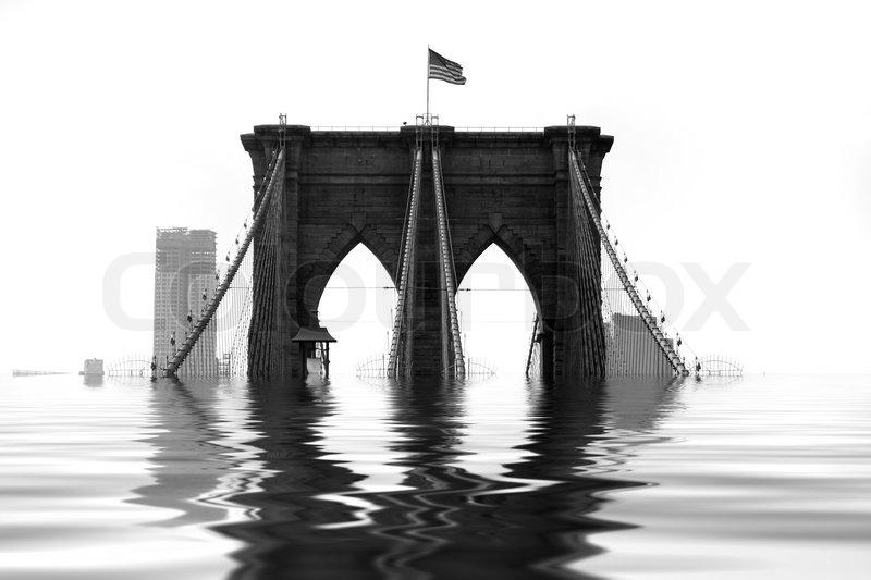 Conceptual Illustration Of The Brooklyn Bridge Flooded
