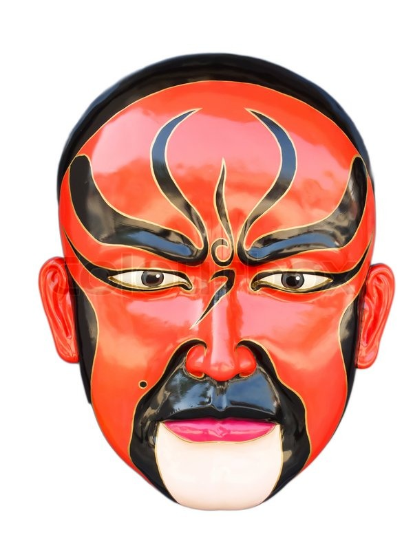 Traditional chinese opera red mask isolated on white ...