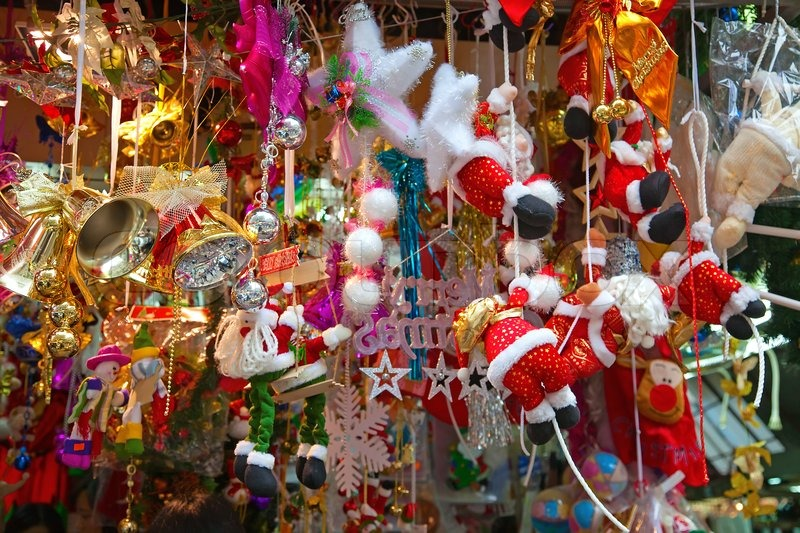 various christmas tree decorations on the street market in china stock photo colourbox