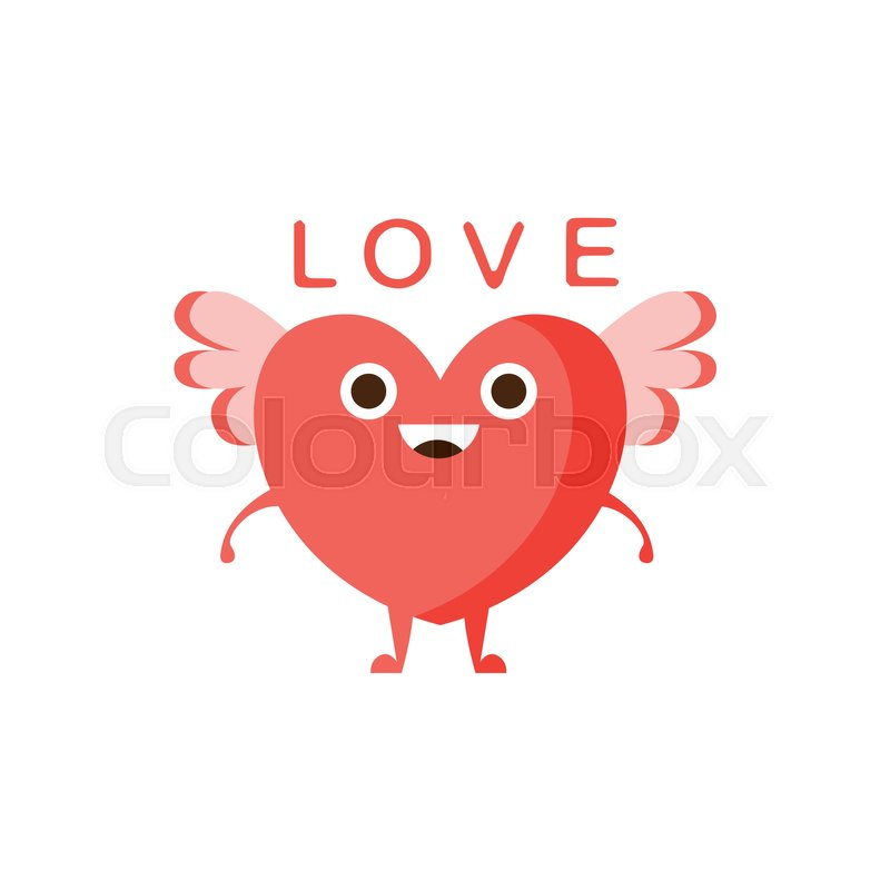 Love And Winged Heart Word And Corresponding Illustration Cartoon
