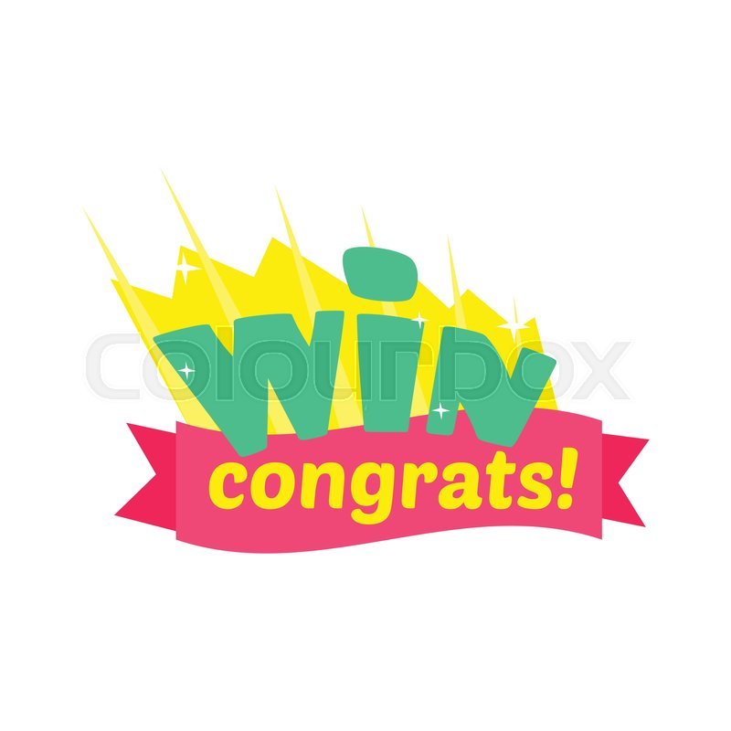 Win congratulations sticker design with green letters and red ribbon stock vector of win congratulations sticker design with green letters and red ribbon template for thecheapjerseys Images