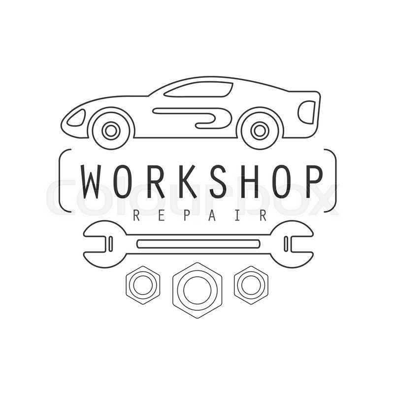 Car Repair Workshop Black And White Label Design Template With Wrench Monochrome Vector Emblem For Auto Mechanic Service In Classic Stamp Style