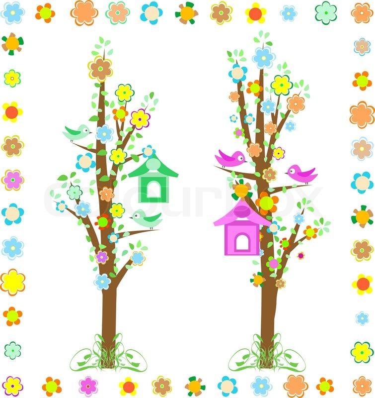 baum mit v geln mit vogelhaus und bunten blumen vektorgrafik colourbox. Black Bedroom Furniture Sets. Home Design Ideas