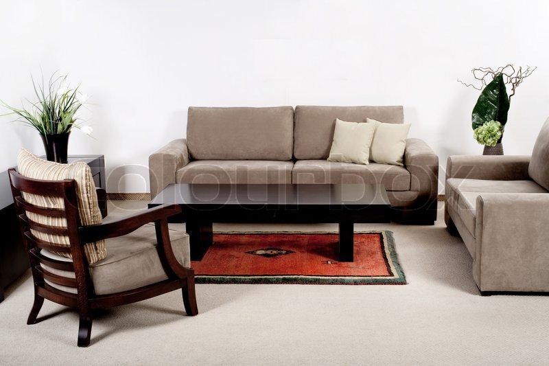 Well decorated modern living room interior with brownish for Well decorated living rooms