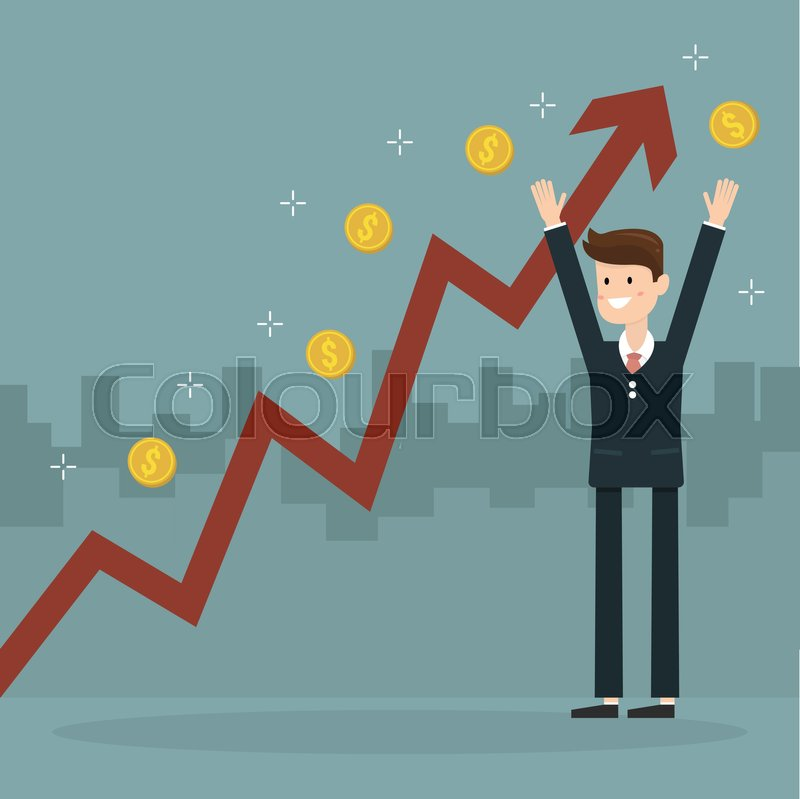 Businessman And Growth Chart A Lot Of Money Chart Growth And