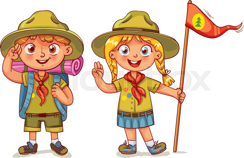 Scout Boy And Scout Girl Scout Honor Hand Gesture Children Scout