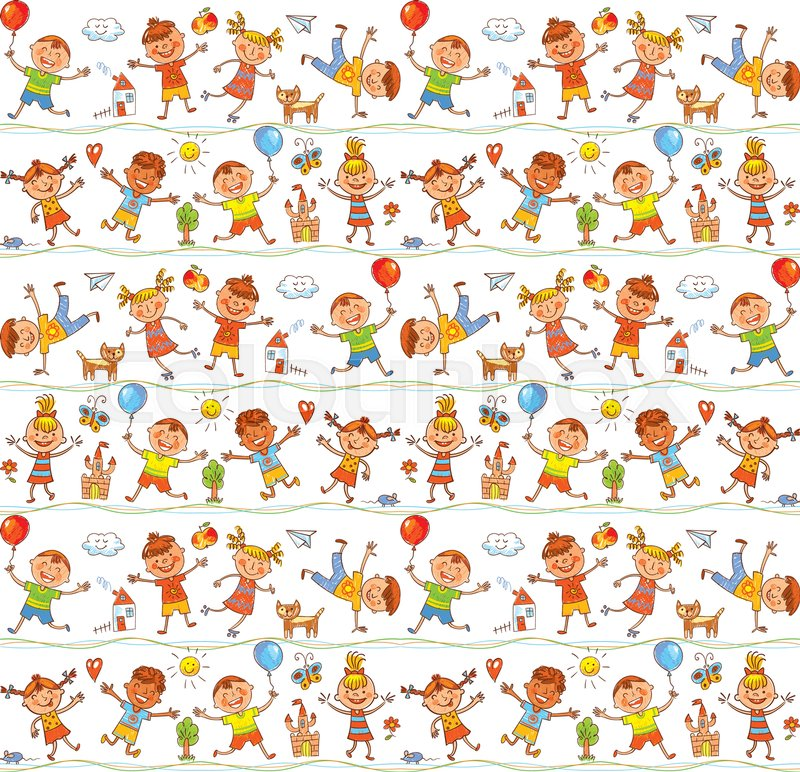 seamless ornamental pattern for kids web sites textile industry magazines in the style of childrens drawings freehand drawing vector illustration - Kids Drawing Sites