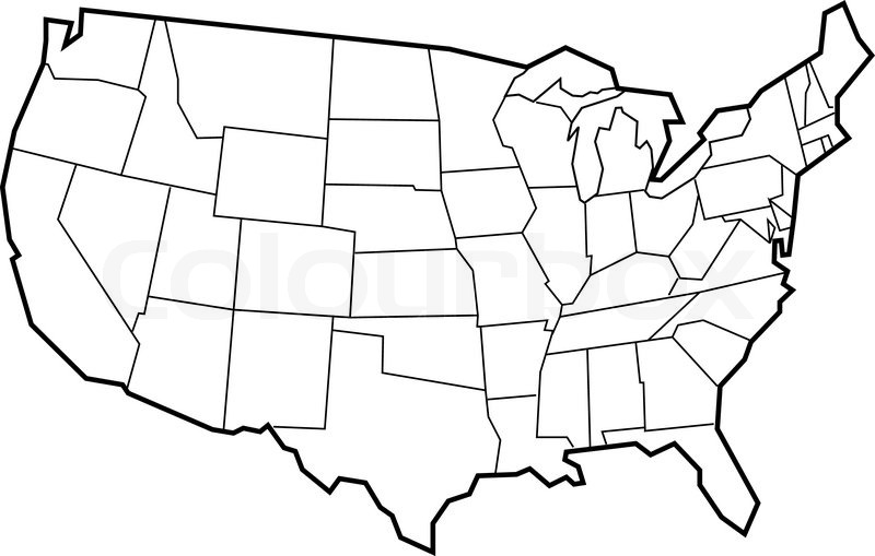Vector Map Of USA Empty Template For Your Designs Stock Vector - Hand drawn us map vector