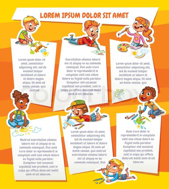 Children Draw On Paper Template For Advertising Brochure Ready For