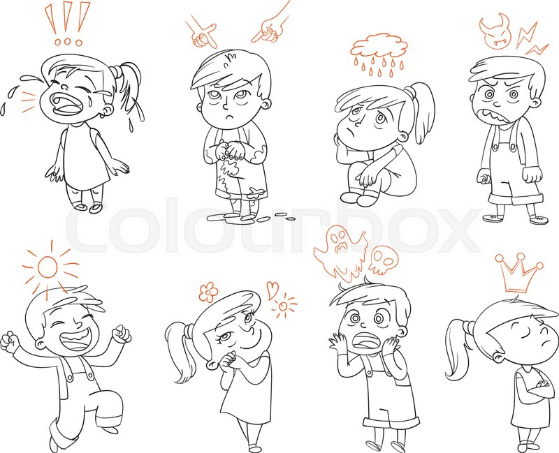 Basic emotions. Mad, Sad, Glad, Scared, Love. Funny cartoon character. Vector illustration. Isolated on white background. Coloring book, vector