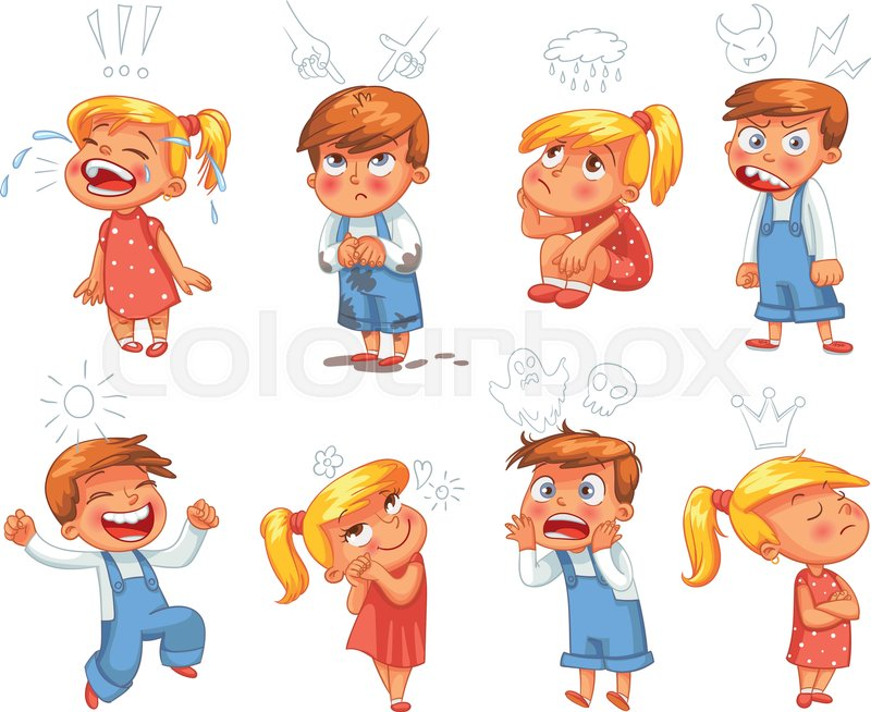 Basic emotions. Mad, Sad, Glad, Scared, Love. Funny cartoon character. Vector illustration. Isolated on white background, vector