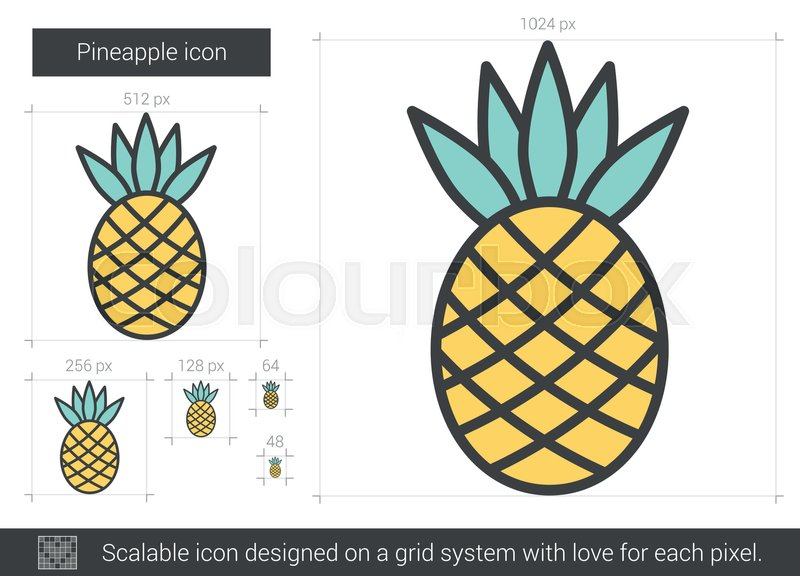 Pineapple Vector Line Icon Isolated On Stock Vector
