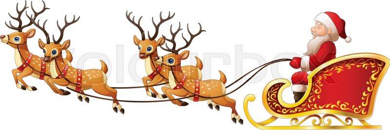 vector illustration of santa claus rides reindeer sleigh on
