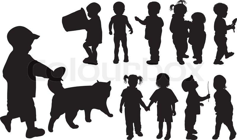 Silhouette m dchen und jungen alter der kinder von - Schattenbilder kinder ...