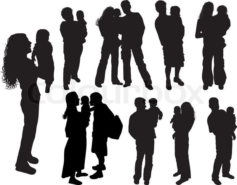 silhouettes of parents with baby vector illustration