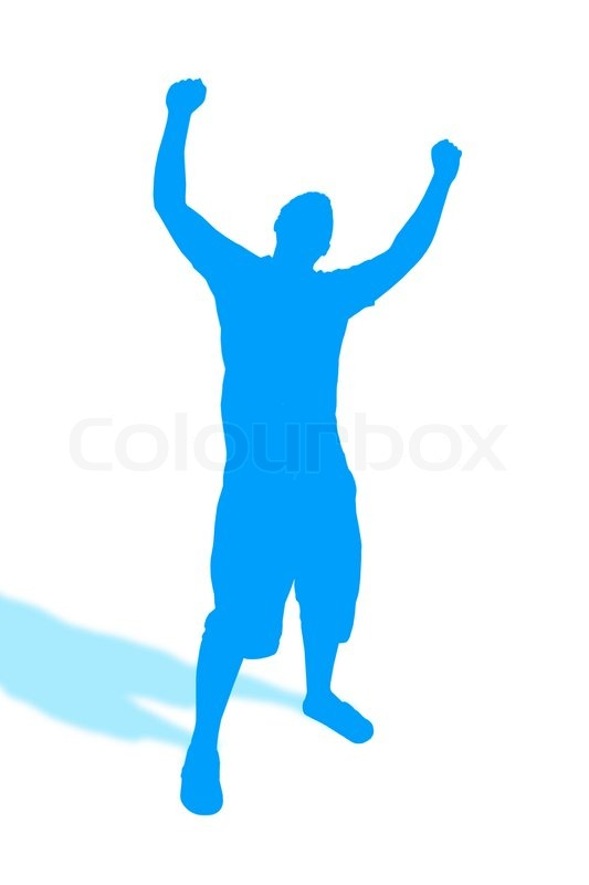 A blue silhouette of a man throwing his hands up in the airHe also looks  like he could be dancingImage includes the clipping path, stock photo