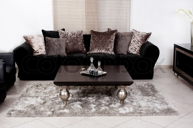 Modern Black Coloured Fabric Couch Living Room