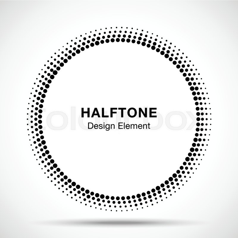 Black Abstract Circle Frame Halftone Stock Vector
