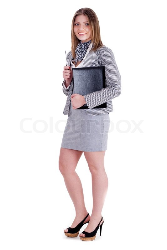charming business woman standing and holding her office file over