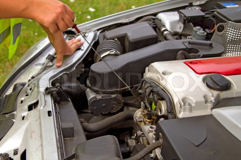 Details Checking Engine Oil Dipstick In Car Stock Photo
