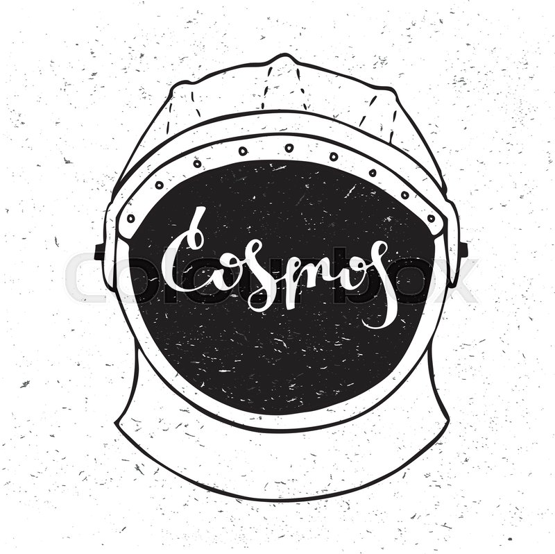 Astronaut helmet with inscription cosmos in the center. Lettering, vector