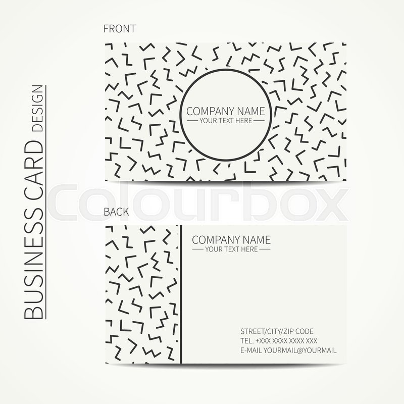 Vector simple business card design. Memphis style. Template. Black ...