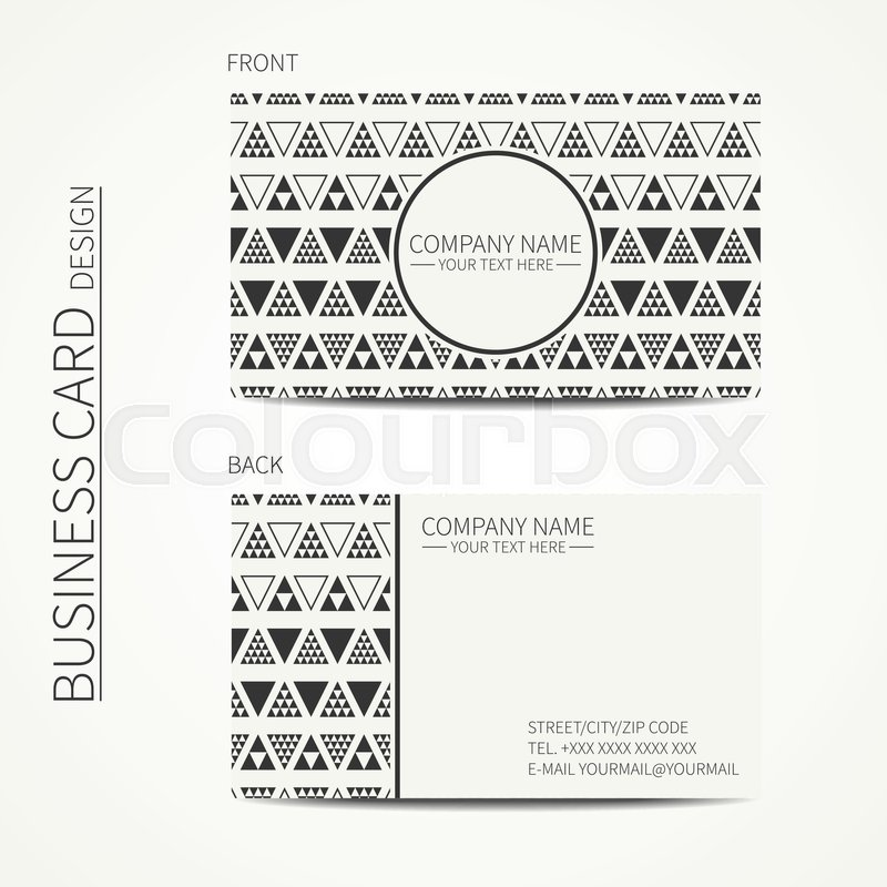 Vector simple business card design. Delta, trigon. Template. Black ...
