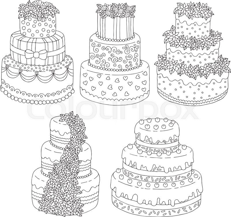 Hand drawn seamless pattern with triple birthday cakes Vector