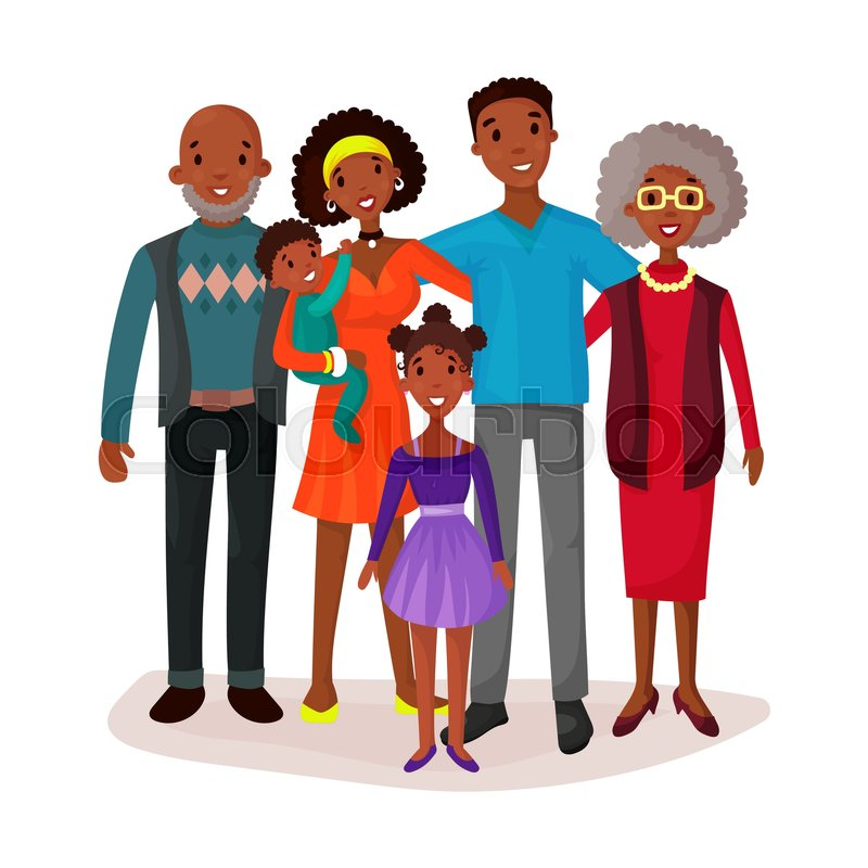 afro american or black happy cartoon family with mother and