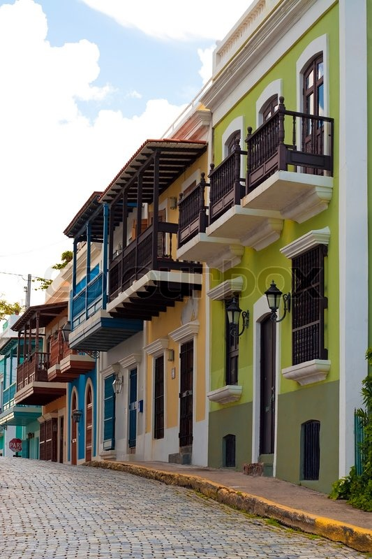 Stock image of 'A row of colorful pastel painted buildings in Old San Juan Puerto Rico'