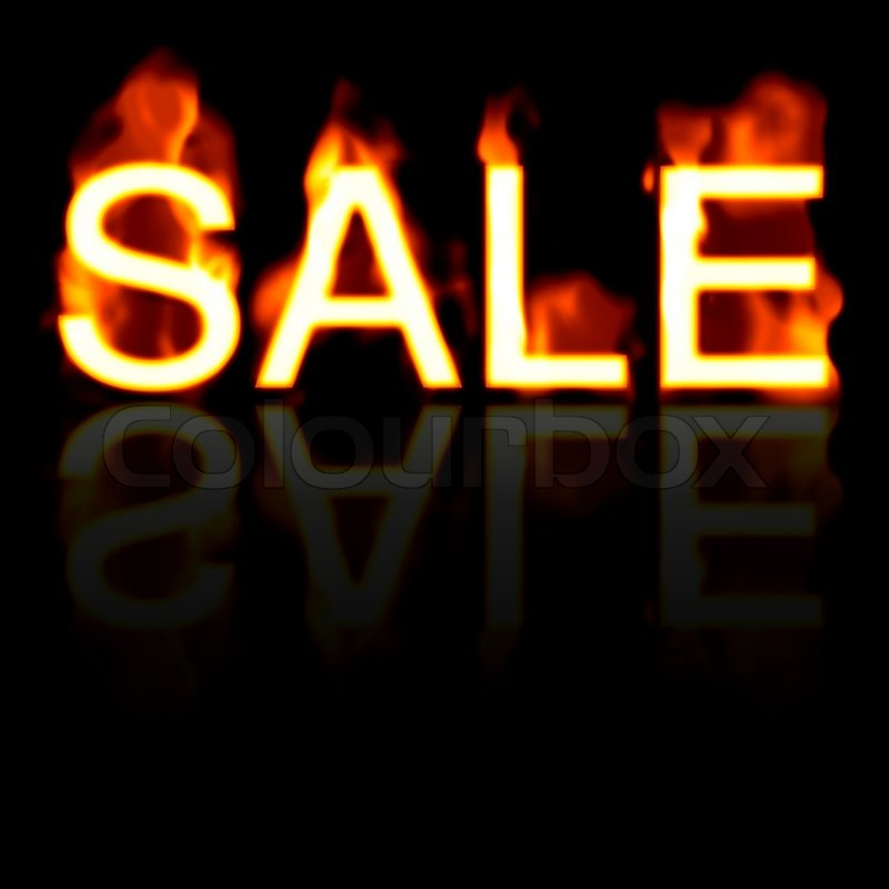 Stock image of 'Retail SALE artwork with a fire effect and reflectionGreat for signs posters web marketing and more'