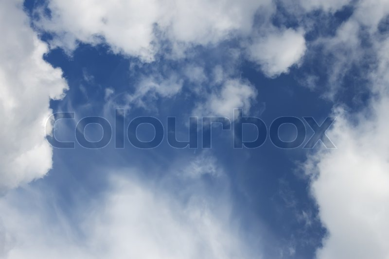 Light white clouds and blur sky, warm summer day, stock photo