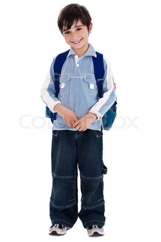 Young boy standing in white isolated background | Stock ...