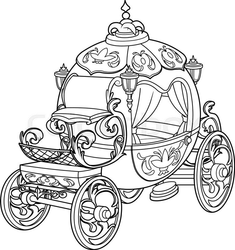 Cinderella fairy tale pumpkin carriage coloring page for Cinderella carriage coloring page