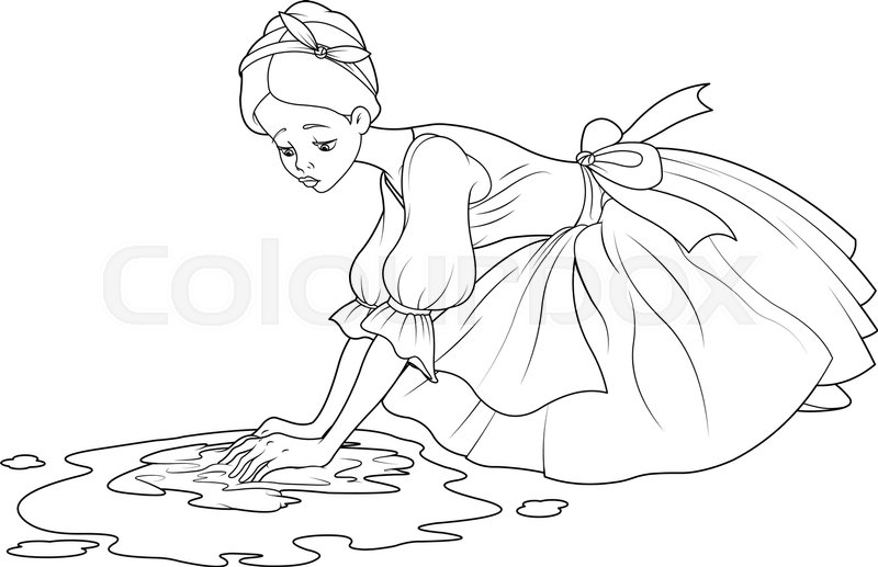 Sad Cinderella Washes The Floor With Stock Vector Colourbox