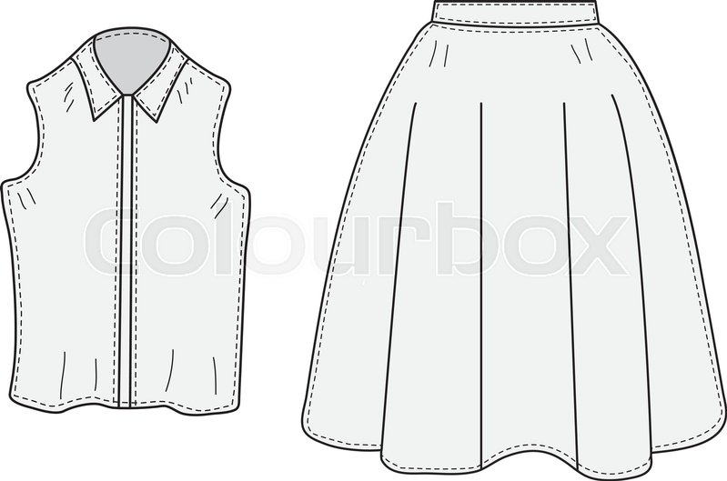 Skirt And Blouse Set Sketch Retro Style Clothes Hand Drawing