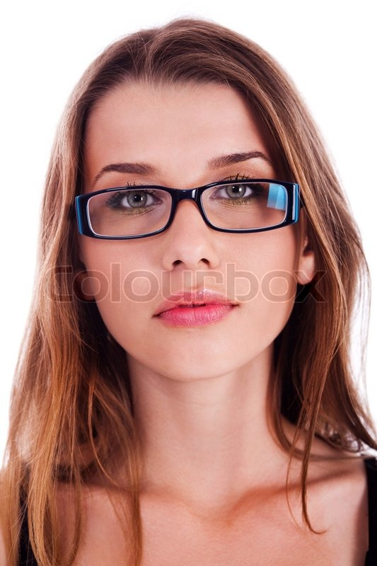 portrait of young beautiful lady wearing spectacles over