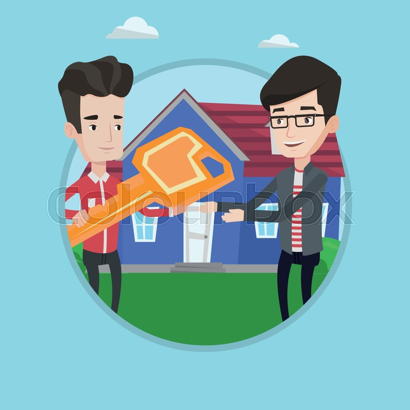 Awesome Stock Vector Of U0027Real Estate Agent Giving Key To A New Owner Of A House