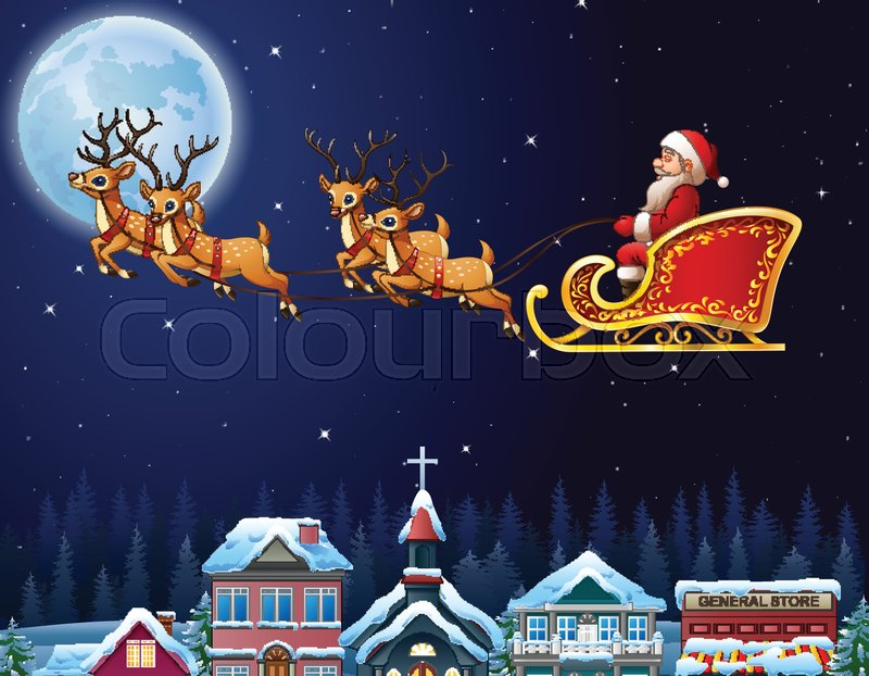 illutration of santa claus riding his reindeer sleigh flying over