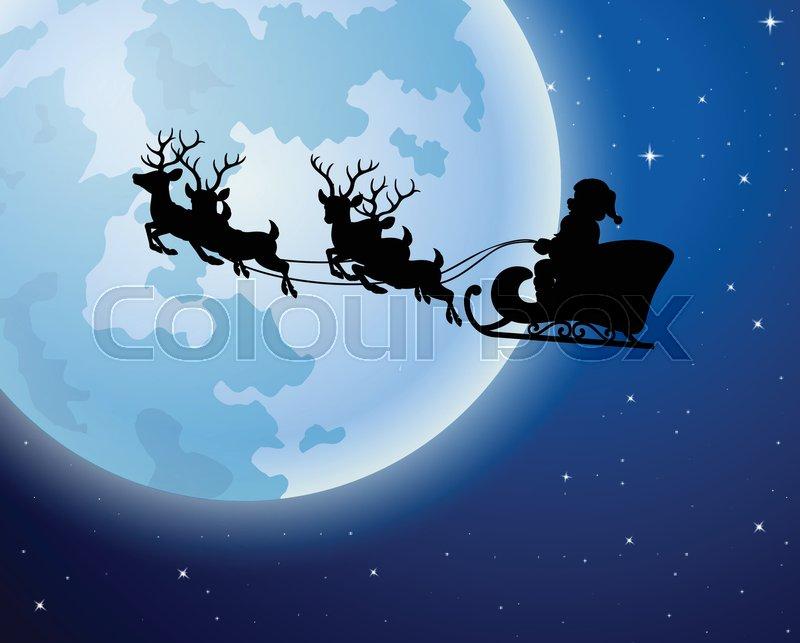 illustration of santa claus rides reindeer sleigh silhouette against
