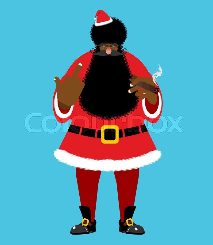 fb30f42e830b4 Bad Black Santa with cigar shows to ...