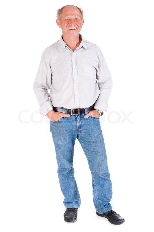 Studio portræt af smilende senior mand | Stock foto